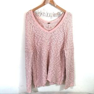Free People Songbird Pullover Sweater Light Pink M